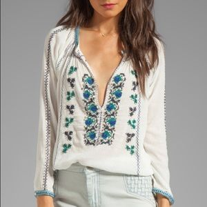 Joie Chava Embroidered Embellished Boho Blouse Top